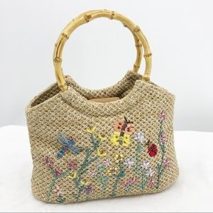 Relativity Tan Embroidered Beaded Satchel Purse